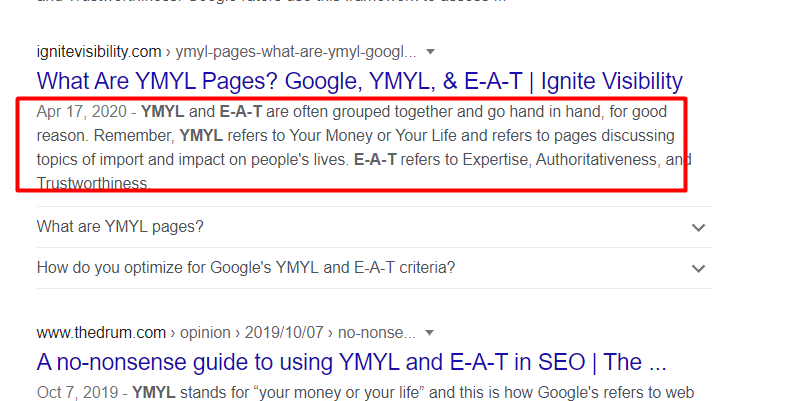 Snippet of Meta Description